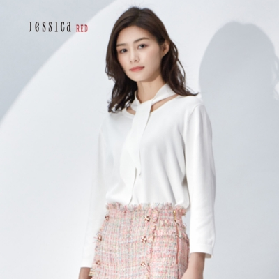 JESSICA RED - 氣質素色圓領綁帶造型上衣(白)
