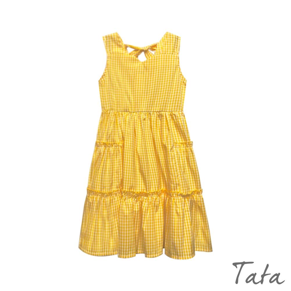 童裝 格紋後綁帶蛋糕裙洋裝 TATA KIDS
