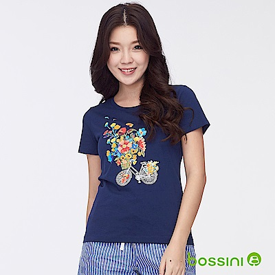bossini女裝-印花短袖T恤25海軍藍