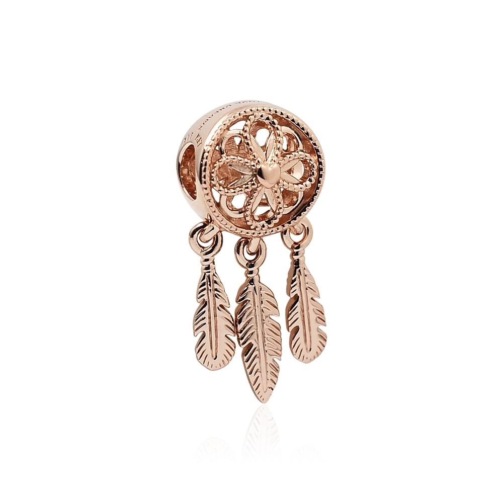 Pandora 潘朵拉 魅力玫瑰金捕夢網 垂墜純銀墜飾