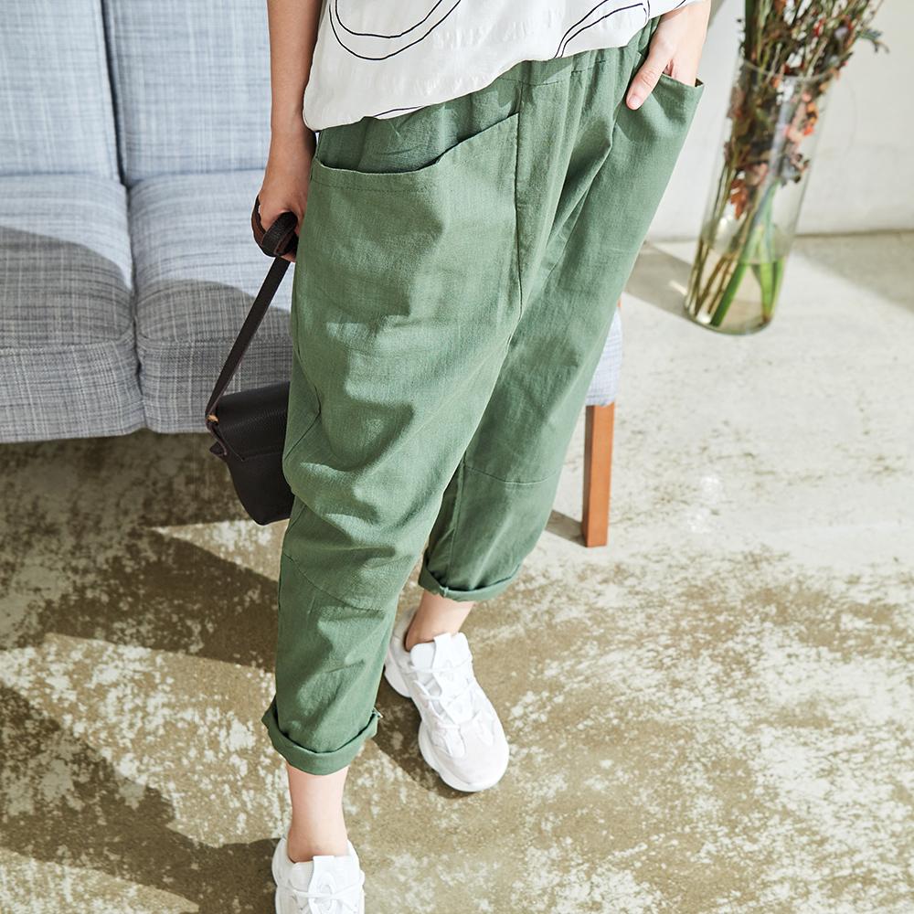 慢 生活 鬆緊對稱口袋蘿蔔褲- 綠