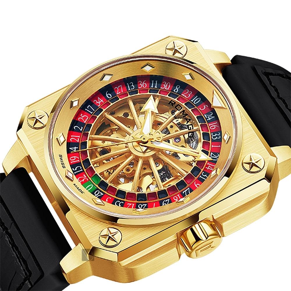 ROMAGO帝霸系列 輪盤鏤空機械錶-金色/46.5mm