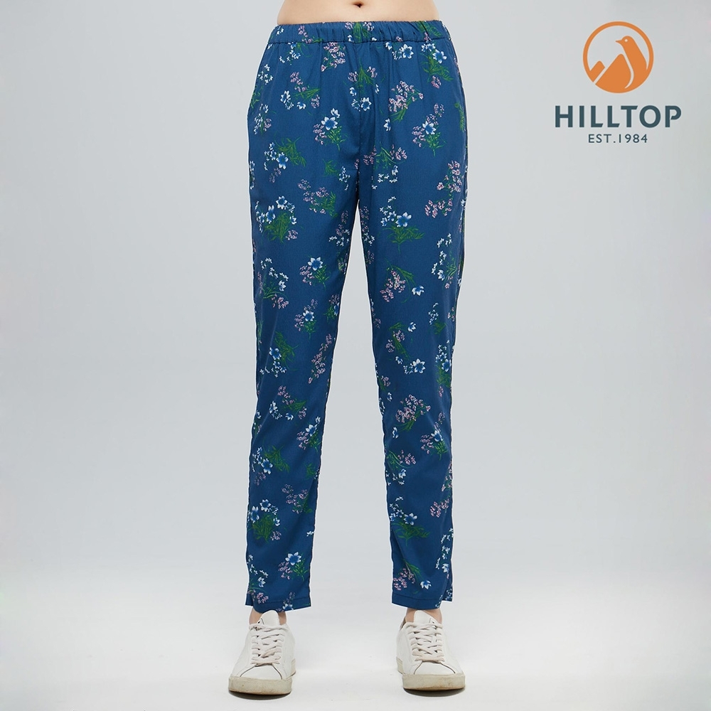 【hilltop山頂鳥】女款吸濕快乾抗UV彈性長褲S07FI9深沉藍印花