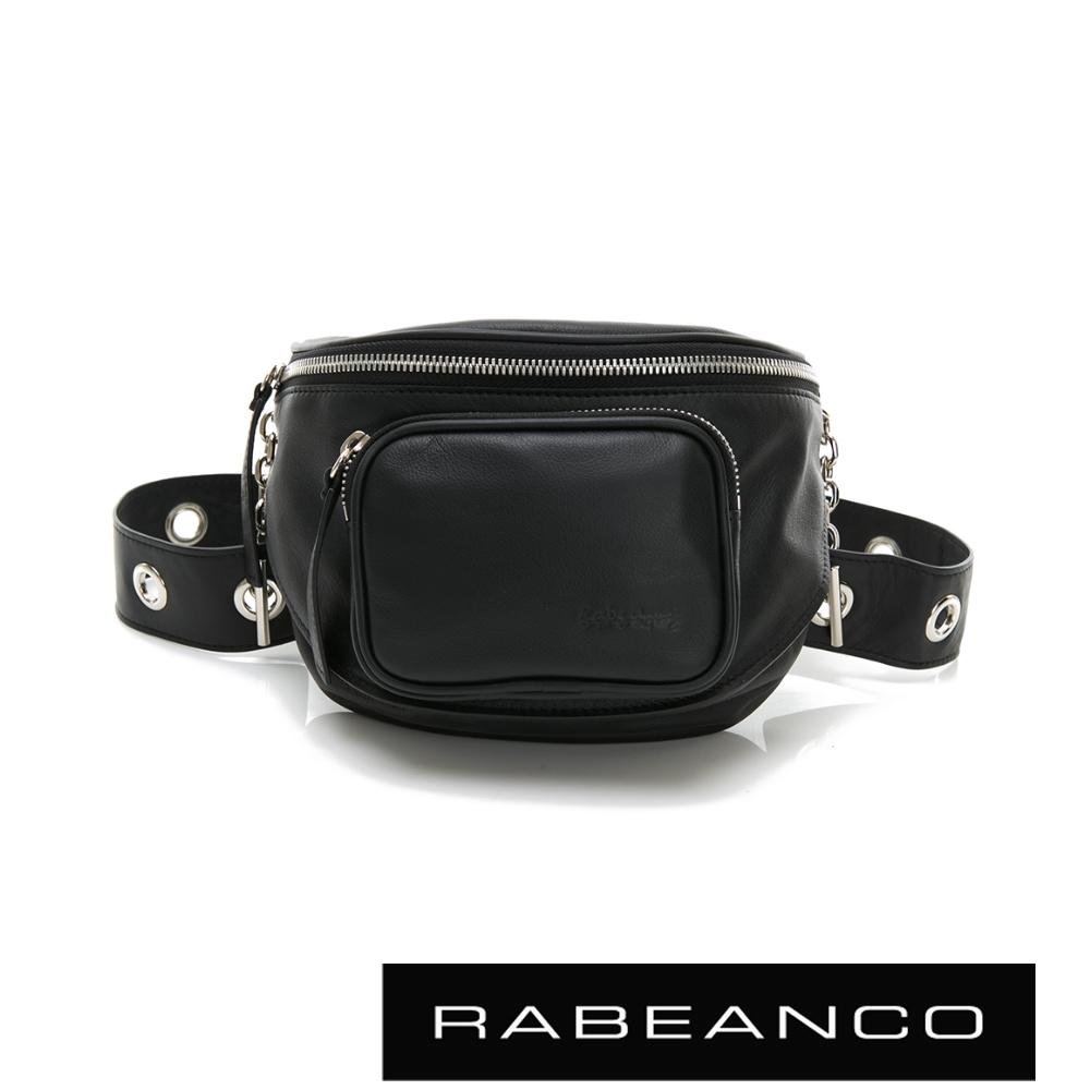 RABEANCO INA牛皮T型鏈條寬背帶斜背/腰包(小) 黑