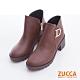 ZUCCA-D字釦側拉鍊低跟短靴-棕-z6722ce product thumbnail 1