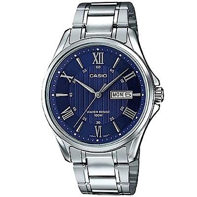 CASIO 經典復古羅馬簡約指針紳士腕錶(MTP-1384D-2)銀色X藍面/42mm