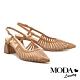 高跟鞋 MODA Luxury 自然風情羊皮網紗尖頭繫帶高跟鞋-杏 product thumbnail 1