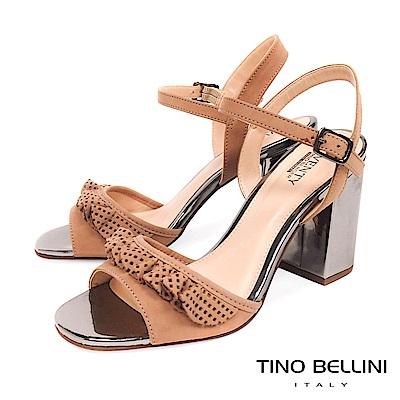 Tino Bellini 巴西進口百摺牛皮緞帶高跟涼鞋 _ 杏