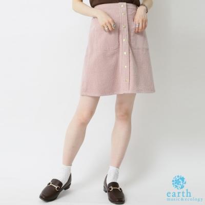 earth music 金色鈕扣燈心絨口袋迷你短裙