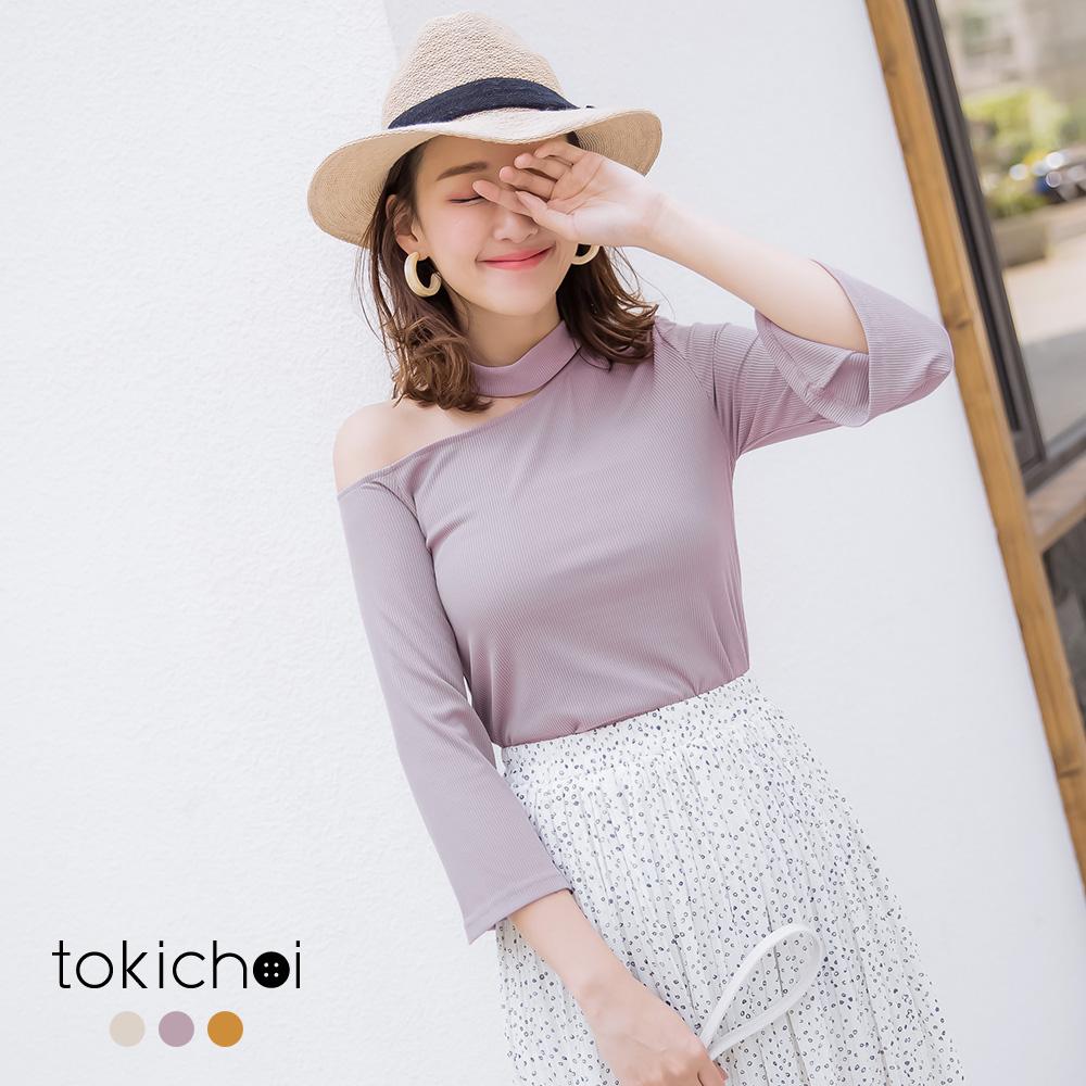 東京著衣  性感女神單肩簍空喇叭袖上衣-S.M.L(共三色)