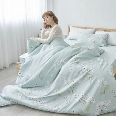 BUHO 天然嚴選純棉雙人加大四件式兩用被床包組(水戀月燦)