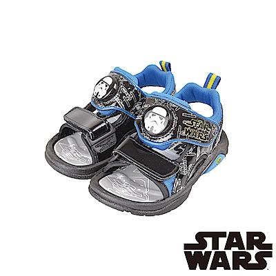 (雙11)StarWars星際大戰 舒適輕量減壓休閒電燈涼童鞋-黑