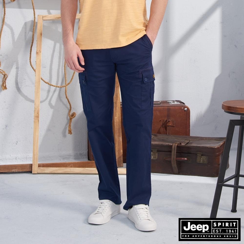 JEEP 鬆緊織帶造型口袋工作褲-深藍