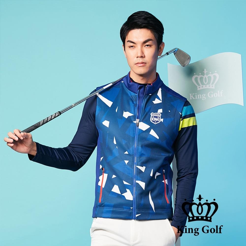 【KING GOLF】刺繡LOGO幾何印圖輕薄防風背心外套-藍色