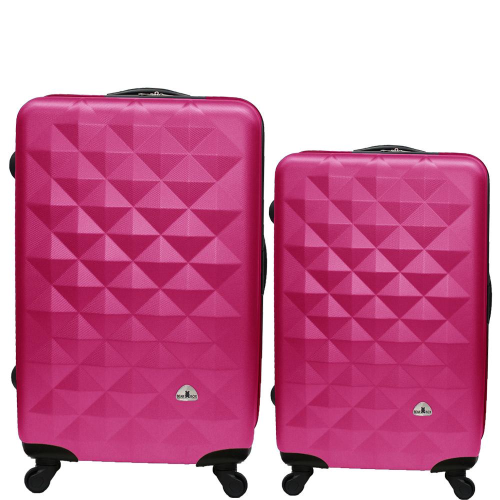 Bear Box 立體菱格晶鑽系列經典二件組28吋24吋 輕硬殼旅行箱行李箱-桃紅色