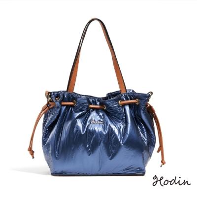 【Hodin】Vanguard亮面束口托特包(藍色152053BR)