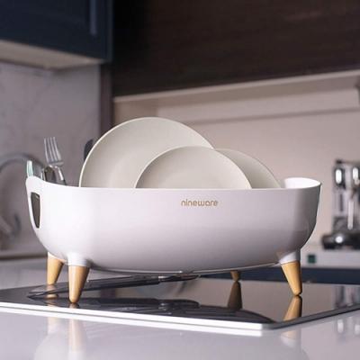 韓國nineware 簡約碗盤木角瀝水籃11L-白色
