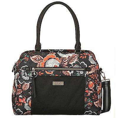 織帶托特手提包-法國玫瑰復刻印花 -經典黑 LiliO