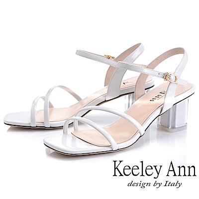 Keeley Ann造型透視跟 素雅線條中跟涼鞋(白色-Ann系列)