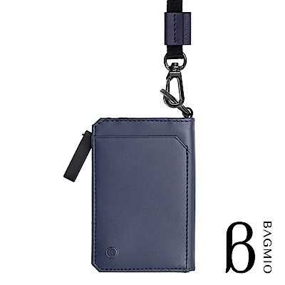 BAGMIO fusion 牛皮三用雙色鑰匙零錢包 藍黑