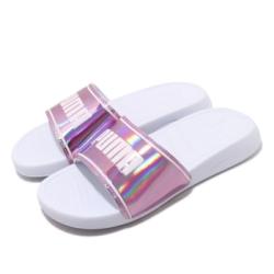 Puma 涼拖鞋 Popcat 20 套腳 女鞋 舒適 簡約 夏日 穿搭 質感 大logo 粉 白 37262702