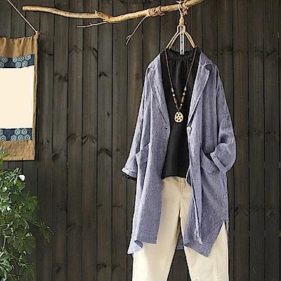文藝寬鬆棉麻格子西裝外套時尚休閒外搭-設計所在