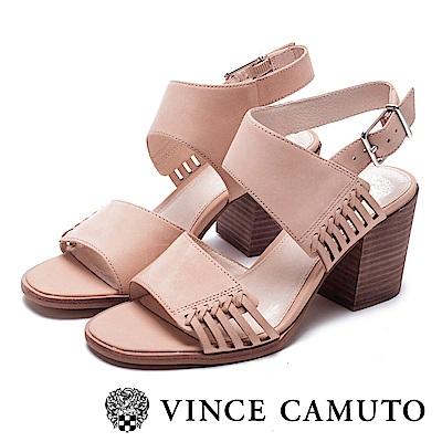 VINCE CAMUTO 側簍空方頭粗高跟涼鞋-棕色