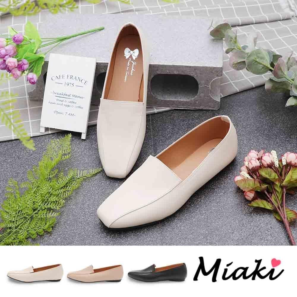 Miaki-樂福鞋.簡約時尚平底休閒方頭包鞋 (米色系)