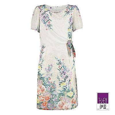 ILEY伊蕾 綁帶造型花卉雪紡印花洋裝(綠)