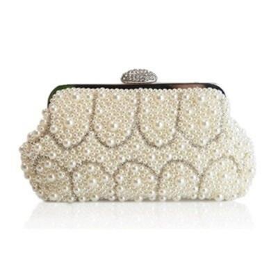 米蘭精品 晚宴包鏈條手拿包-奢華亮麗珍珠手拿女包情人節生日禮物73ft31