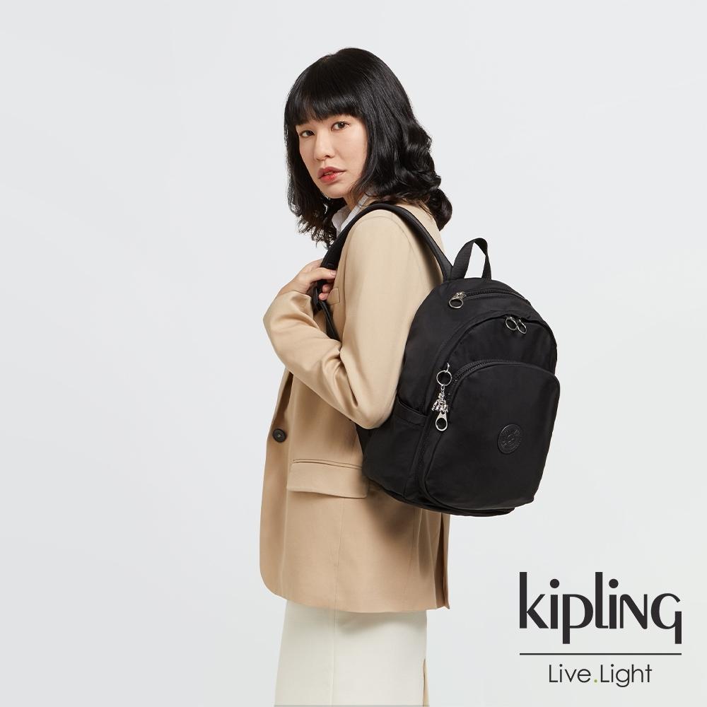 Kipling 低調沉穩黑上方拉鍊後背包-DELIA