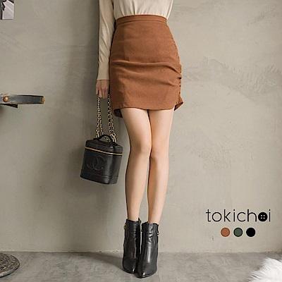 東京著衣 回頭率暴增側邊抓皺性感短裙-S.M(共三色)
