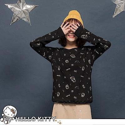 台灣製造~太空KITTY滿版印花內刷毛衛衣上衣-OB大尺碼