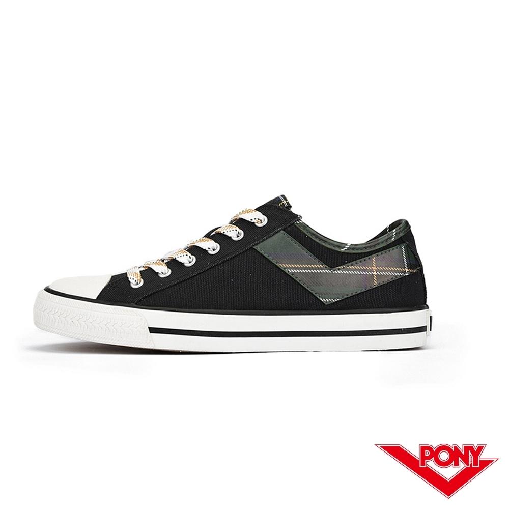 【PONY】Shooter系列 拼接格紋LOGO短筒帆布鞋 女鞋 格紋綠