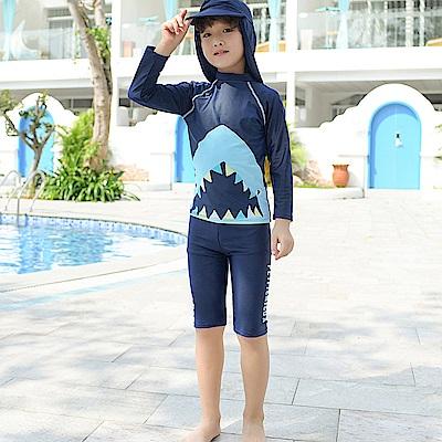 Biki比基尼妮泳衣 超大鯊長袖泳衣兒童泳衣泳裝(S-XL)
