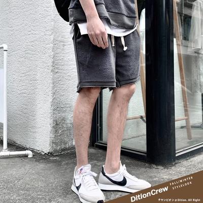 DITION 韓系抽鬚oversize短棉褲 反車線不修邊 運動套裝 情侶男女可穿 機能抽繩