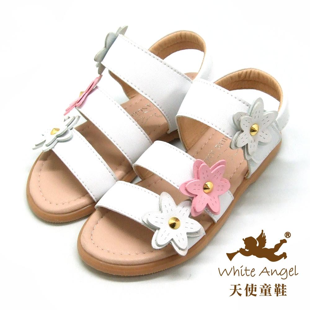 天使童鞋 清新桐花涼鞋(中-大童)D942-白