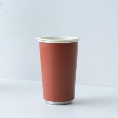 JIA Inc.虹彩鋼 雙層琺瑯塗層隨行杯350ml(紅色)(快)