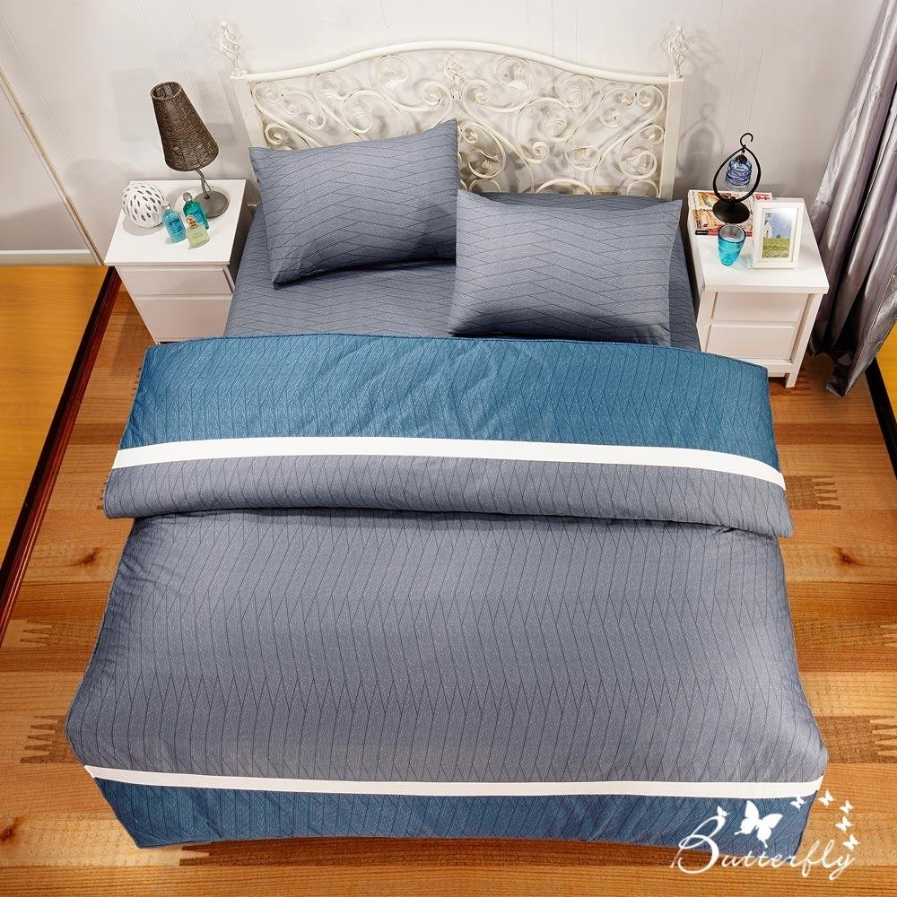 BUTTERFLY-台製40支紗純棉-雙人6x7尺鋪棉兩用被-方程式-灰
