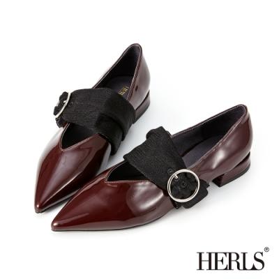 HERLS低跟鞋-內真皮釦環瑪莉珍尖頭漆皮低跟鞋-酒紅色