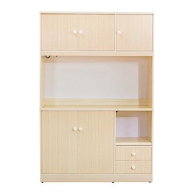 Birdie南亞塑鋼-4.2尺五門二抽塑鋼電器櫃(白橡色)-126x41x190cm