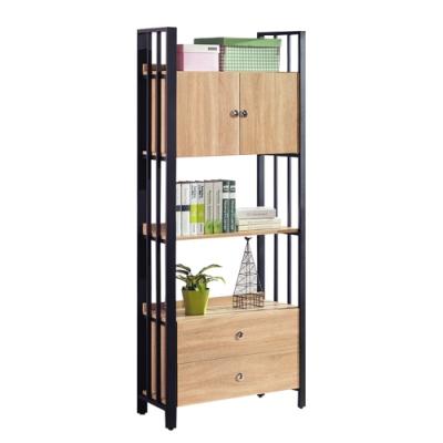 柏蒂家居-肖恩工業風2.8尺二門二抽開放式書櫃/書架/收納置物架85x40x203cm