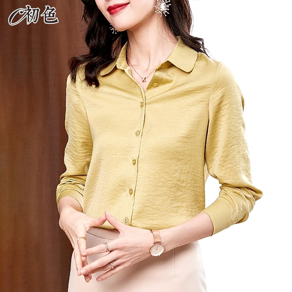 初色  氣質緞面素色襯衫-共6色-(M-2XL可選)