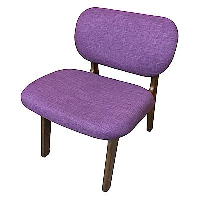 AS-Emily胡桃色紫布面實木餐椅-60x59x74cm