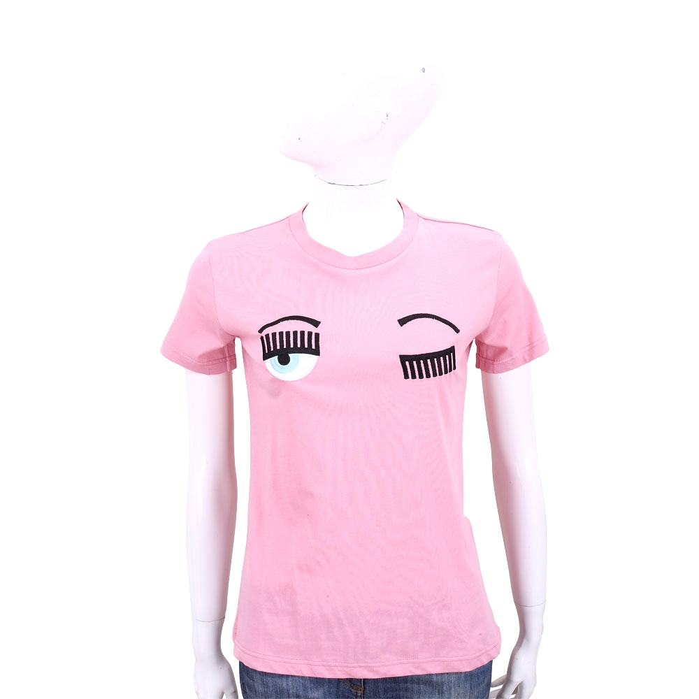 Chiara Ferragni Flirting 眨眼刺繡粉紅色棉質短T恤