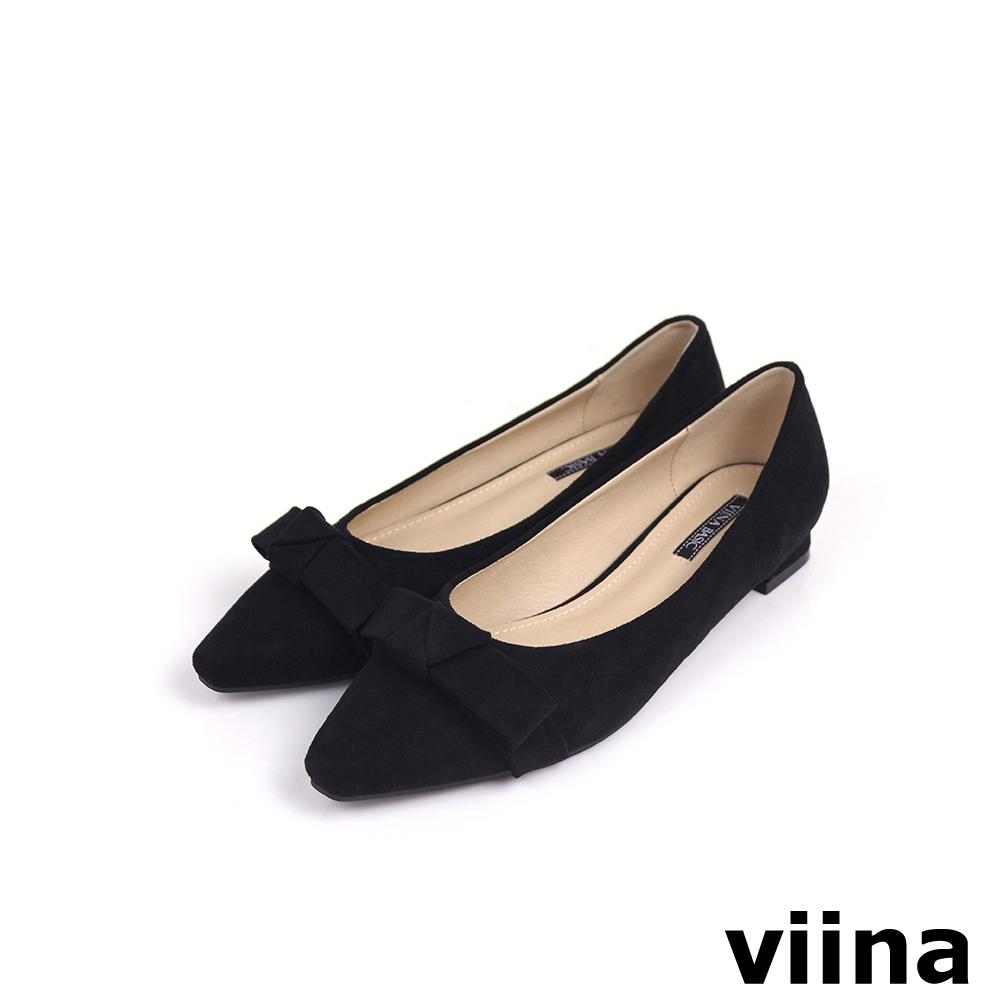 viina Basic 素面蝴蝶結低跟鞋 - 黑
