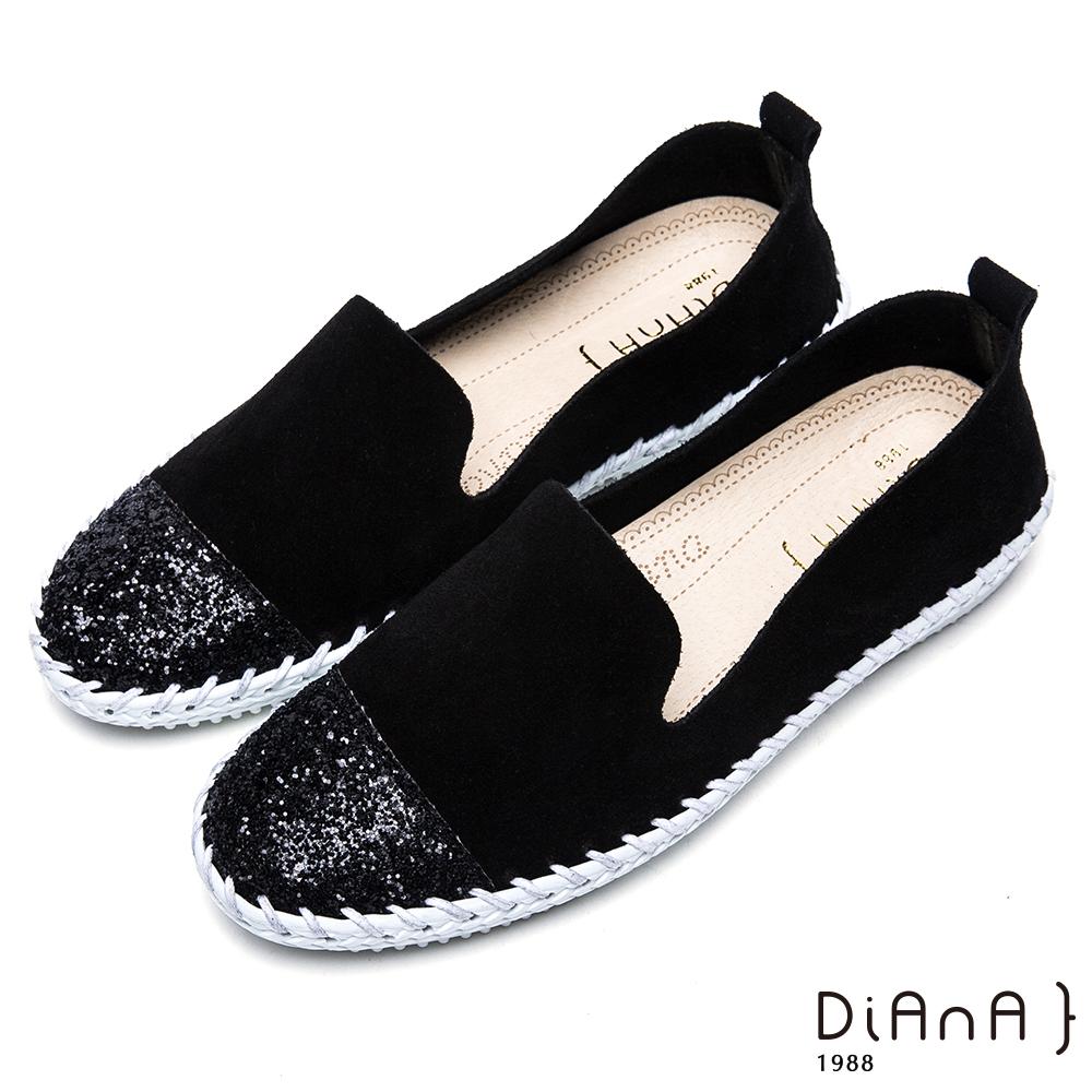 DIANA 漫步雲端厚切焦糖美人-耀眼亮蔥異材質拼接麂皮休閒鞋 –黑