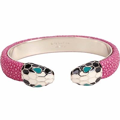 BVLGARI 寶格麗 Serpenti Forever 雙蛇頭桃粉色珍珠魚皮金屬手環
