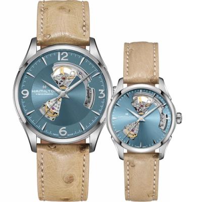 Hamilton 爵士開芯機械對錶(H32705842+H32215840)-湖水藍x卡其皮帶