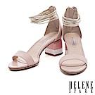 涼鞋 HELENE SPARK 摩登多層次繫帶撞色高跟涼鞋-粉